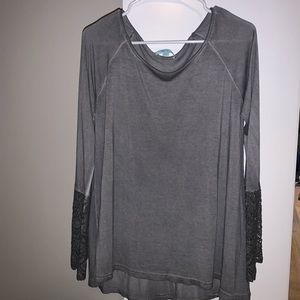 Grey long sleeve with lace bell sleeves!